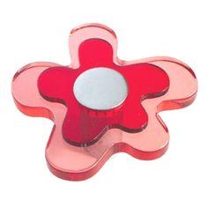 pomos tiradores flor metacrilato rojo con metal cromo puerta mueble comprar venta online 678rj