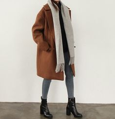Coat, scarf, boots