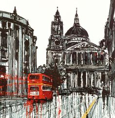 Paul Kenton - Routemaster. Two of London's most famous icons are juxtaposed in this scene. I wanted the impressive St Paul's cathedral to dominate the composition and provide a backdrop for the bustle of life happening down on the streets below, with a classic red London bus whizzing past.