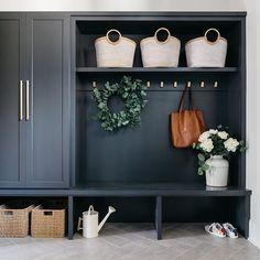 Elizabeth Scott, Mudroom Laundry Room, Hallway Storage, Bench Storage, Café Bar, Pantry Design, Storage Places, Diy Home Crafts, Dream Decor