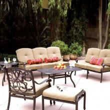 Darlee Malibu 4-Person Cast Aluminum Deep Seating Patio Conversation Set - Antique Bronze : Ultimate Patio