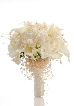 Cream Roses, White Calla Lilies, Cream Tulips