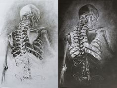 Same drawing, one pencil on white paper, one white on black paper