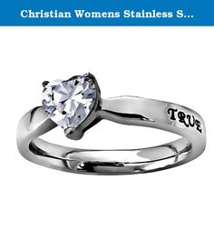 "Christian Womens Stainless Steel Abstinence 3mm 1 Timothy 4:12 ""True Love Waits"" CZ Heart Solitaire Chastity Ring for Girls - Girls Purity Ring - Comfort Fit Ring. Stainless steel petite band with large heart cut cubic zirconium stone. Engraved scripture with black enamel filling on back side of ring, ""True Love Waits - 1 Timothy 4:12""."