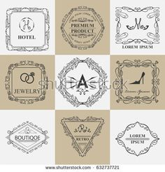 Luxury Logos template.Swirling calligraphic elegant ornament. Vintage Business sign,line logotype, monogram, crest ,emblems.Identity for Restaurant ,Royal, Boutique, Hotel, Heraldic, Jewelry,wedding
