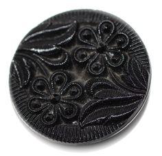 Button / Glass Black /  Lacy - Medium by HoppeEtc on Etsy