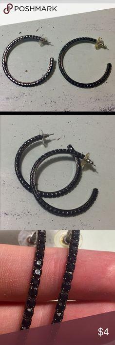 Black rhinestone hoop earrings Black rhinestone hoop earrings. Great condition. Jewelry Earrings