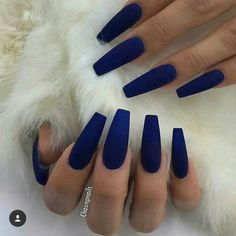 Take a look at our Coffin Acrylic Nail Ideas with different colors; Trendy Coffi & dye The post Take a look at our Coffin Acrylic Nail Ideas with different colors; Trendy Coffi appeared first on Trendy. Blue Coffin Nails, Blue Acrylic Nails, Acrylic Nails Autumn, Stiletto Nails, Coffin Acrylic Nails Long, Dark Blue Nails, Blue Matte Nails, Coffin Nails 2018, Glitter Nails