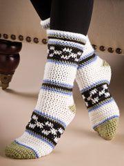 Checks & Stripes Socks--free crochet sock pattern