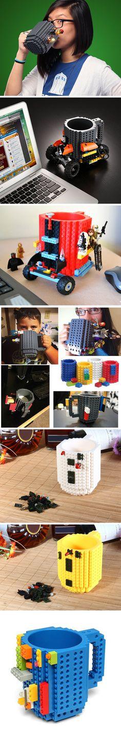 Lego Style DIY Mug -- Creative Building Blocks Style Build-On Brick Mug Tea Cup