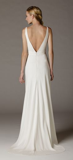 Low back silk crepe wedding dress by Aria. Made in USA. www.ariadress.com