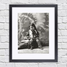 Indian Boy - Mounted & Framed Poster Art Print - 22.5 x 27 Inches  ( 57 x 68.5 cm ) by TheRedbusGallery on Etsy