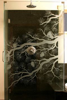 Custom Shower Glass Etching / Sandblasting / Frosting, Bathroom Glass