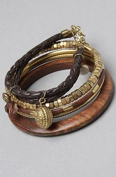 good *Accessories Boutique The Set of Five Wood and Gold Metal Bracelets,Jewelry for Women