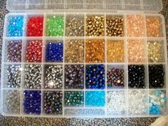 A sampling of swarovski crystal colors. They change often as more are being added to our inventory. Boy do they sparkle!