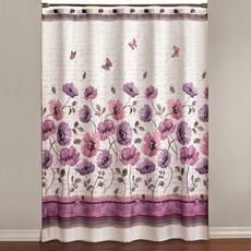 Floral Waltz  - pink and purple floral shower curtain with embroidered butterflies, so pretty!