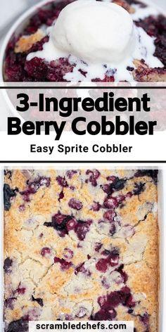 Blueberry Recipes Easy, Easy Blueberry Cobbler, Blueberry Desserts, Triple Berry Cobbler, Mixed Berry Cobbler, Cake Mix And Soda, Soda Cake, Potluck Desserts, Easy Desserts