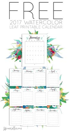 Print your own Free 2017 Watercolor Printable Calendar! This Pinterest worthy calendar is perfect for keeping you organized all year!