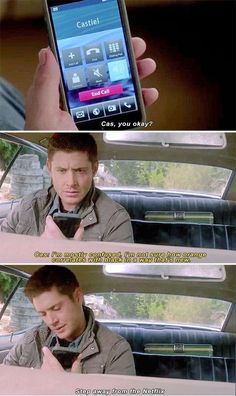 "11x04 Baby - ""I'm not sure how orange correlates with black in a way that's new."" - Castiel, Dean Winchester; Supernatural"