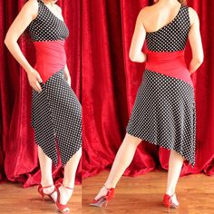 Asymmetrical Tango Dress in red and black with white polka dots Tango dancewear [RT-D-6] - $148.22 : Latin dance wear, ballroom dance shoes, latin dance skirts & Salsa dresses.