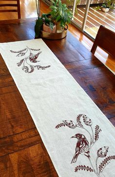 Off white table runner approx., linen, with my own design of a New holland Honey Eater bird and banksia, printed in warm brown with eco-friendly screen printing ink (Permaset). Created and printed in Fremantle Western Australia Printing Ink, Screen Printing, Cute Australian Animals, Natalie Green, Kangaroo Paw, Hot Steam, Linen Fabric, Table Runners, Flora