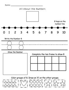 All About Numbers 1-10. Students show a variety of ways to represent a number. Plus a TON more number activities!