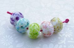 Lampwork Glass Beads Mini Rainbow Fritty Donuts - set of 5, by shineon2, £5.00
