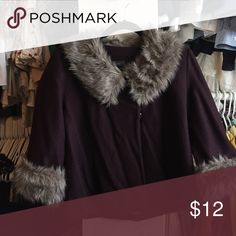 Fur collar forever 21 jacket Collar and sleeve fur trimmed plum colored jacket in excellent condition from Forever 21 Forever 21 Jackets & Coats