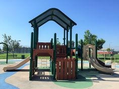 Side view of the slides on the playground for little kids at Mountain View Park in Eastvale, California. http://youreastvalerealtor.com/eastvale-parks/