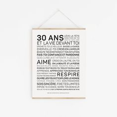 Affiche 30 ans - Les mots à l'affiche Happy 30th Birthday, Image Fun, Printable Quotes, Positive Attitude, Letter Board, Affirmations, Positivity, Messages, Type 3