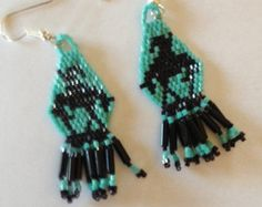 Beaded End of the Trail Earrings E 40 P by ThreeSoaringEagles