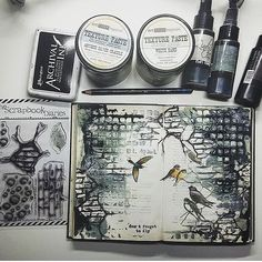 An incredible art journal page by te fabulous @maremis_small_art using #lindystampgang Monochromatic is totally in right now! #monochromatic #lindystampgang #art #artjournaling