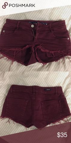 Brandy Melville maroon shorts Super cute cut offs, sold out in stores! Tagged size 38 EUR but fits sizs 4 US and Waist 26 Brandy Melville Shorts Jean Shorts