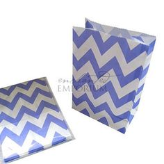 Lavender Chevron Standing Treat Bags - Pack of 12 / Lolly Buffet Supplies