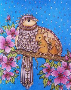 Sommarnatt Colorié aux crayons de couleur Polycolor 72. Estompé à l'essence sans odeur Fond pastel à huile.
