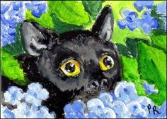 "NFAC Original ACEO - August Theme ""Feline Nation"" Black Cat, Blue Hydrangeas…"