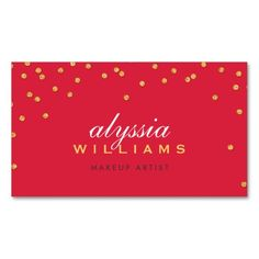 CUTE mini confetti gold sparkly glitter bright red Double-Sided Standard Business Cards (Pack Of 100)