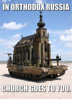 a church tank.Is it a commentary about wars being fought over religion? It's cool no matter how you look at it though! Arte Steampunk, Steampunk Artwork, Spanish Inquisition, Espanto, Funny Sites, Cosplay Anime, Military Humor, Military Force, Army Humor