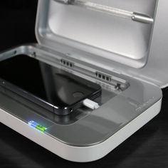 With the average person's cell phone having 18x more harmful bacteria than a public toilet, PhoneSoap is the first and only cell phone charger that sanitizes your phone while it charges. You charge your phone everyday, why not kill all the germs at the same time? With PhoneSoap, a charged phone is a clean phone. As a universal cell phone charger, it can charge any phone and fit any phone. Even the large ones! Here are the dimensions of the sanitizing space:6 L x 3.74 W x .78 H inches. ...