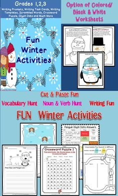 Winter Activities and writing are the focus of this packet.You will receive 72 pages of winter activities that will motivate your classroom with fun and engaging winter worksheets. Your kids will enjoy these activities! It will keep kids engaged in coming winter months of December, January and February.