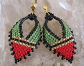 Beadwork - Russian Leaf Earrings - Red/Avocado - Free Shipping