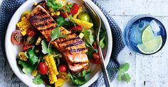 20 minutes is all you need to make this easy, 5-ingredient cajun salmon served with chargrilled corn salsa.