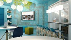 Office concept und office design für belimo Creative office, colorful workplace, coworking im corporate design Interior, furniture design, lighting, osb, greenery