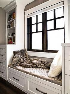 Some Pictures of Bay Window Cushions Ideas to Inspire You : Excellent Bay Window Cushions White Shelving Black Windows Frames Window Seat With Drawers Laminated Wooden Floor Interior Doors For Sale, Interior Windows, Interior Barn Doors, Exterior Doors, Black Window Frames, Black Windows, Internal Wooden Doors, Prehung Interior Doors, Custom Wood Doors
