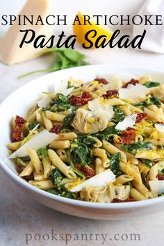 Spinach Artichoke Pasta Salad is dressed with a light, lemony vinaigrette and topped with fat curls of shaved parmesan.  #spinachartichokepasta #pastasalad #pastarecipe Vegetarian Recipes Dinner, Dinner Recipes, Dinner Ideas, Vegan Recipes, Vegan Dinners, Easy Recipes, Dessert Recipes, Spinach Artichoke Pasta, Spinach Dip