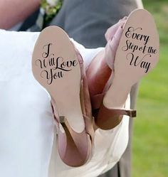 Wedding Stickers/ Wedding Decal/I will love you every step of the way/ Bride Decal/ Custom Decal/ womens shoes/ wedding shoes/ wedding gift Hochzeit Deko Cowgirl Wedding, Wedding Boots, Wedding Pics, Budget Wedding, Wedding Styles, Wedding Planning, Wedding Dresses, Camo Wedding, Wedding Rustic