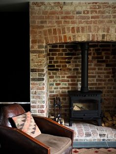 Best Places to Stay UK : Elmley Nature Reserve — Malmo & Moss Brick Fireplace Log Burner, Brick Hearth, Farmhouse Fireplace, Home Fireplace, Wood Stove Hearth, Fireplaces Uk, Exposed Brick Fireplaces, Industrial Fireplaces, Industrial Kitchens
