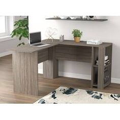 Beachcrest Home Cyra L Shaped Desk & Reviews | Wayfair Home Office Space, Home Office Desks, Office Decor, Open Shelving, Storage Shelves, Storage Spaces, How To Clean Furniture, Home Furniture, Large Computer Desk
