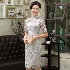 Fantastic+Flowers+Embroidery+Qipao+Cheongsam+Dress+-+Gray+-+Qipao+Cheongsam+&+Dresses+-+Women Chinese Gown, Chinese Dresses, Oriental Dress, Cute Dresses, Formal Dresses, Cheongsam Dress, Chinese Clothing, Dresser, Classic Outfits