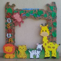 Marco #Selfie bebé Safari  #babyshower #babysafari #safaribebe #Fiestas #Cumpleaños #Piñatas #Piñata Safari Theme Birthday, Jungle Theme Parties, Wild One Birthday Party, Safari Party, Baby Birthday, 1st Birthday Parties, Jungle Decorations, Lion King Birthday, Art N Craft